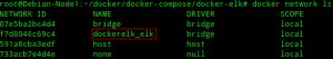 Un nouveau network crée après le lancement de mon stack ELK basé sur le driver bridge
